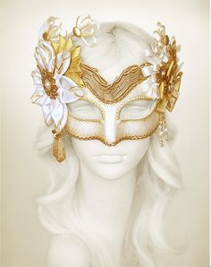 Cream, White & Gold Masquerade Mask- Embellished Venetian Style Masquerade Ball Mask - Beaded Gold Halloween Mask With Fabric Rosettes
