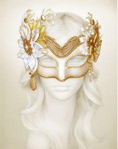 Cream, White & Gold Masquerade Mask- Embellished Venetian Style Masquerade Ball Mask - Beaded Gold Halloween Mask With Fabric Rosettes