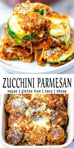 Breaded Zucchini Parmesan Is Fried Until Crispy And Baked In A Casserole Dish With Layers Of Marinara Sauce And Mozzarella Cheese. Vegetarian Recipes Dinner, Vegan Dinners, Veggie Recipes, Whole Food Recipes, Cooking Recipes, Healthy Recipes, Simple Vegan Meals, Simple Dinner Recipes, Vegetarian Dishes Healthy