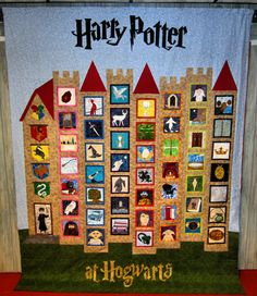 This is my Harry Potter quilt. I designed ALL of the paper-pieced blocks and the castle quilt layout myself from scratch. It took me a number of years, but I finally finished it. Each column represents a different book.    Patterns for the entire quilt are up on my website for FREE. Hope you like it!
