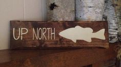 """Hand painted wood """"Up North"""" sign with smallmouth bass, cabin sign, fishing decor, cabin decor, fish decor, custom wood sign, reclaimed wood by MittenGirlzDesigns on Etsy"""