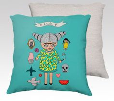 Pillow Case - Frida and her favorite things - Frida Kahlo - home decor - velveteen - 22x 22 inches- 18x18 inches - turquoise