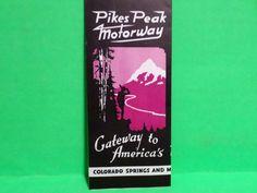 CA 1940'S PIKES PEAK MOTORWAY TRAVEL BROCHURE MANITOU SPRINGS COLO ARTIST SIGNED