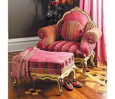 "Mackenzie Childs ~ The Diva Chair, Bergere-style $4,600. While I hate the world ""diva"" a chair like this for yours truly could be nice..."