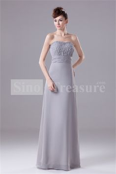 Silver Chiffon Sheath/ Column Floor-length Mother of the Bride Dress with Jacket 008