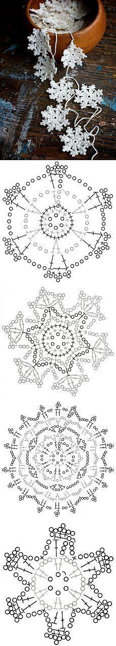 Häkelanleitungen gehäkelte Schneeflocken bilden eine Girlande oder Weihnachts- / Wintergirlande… Anleitung inkl.…,  #bilden #gehakelte #girlande #hakelanleitungen #schneeflocken #weihnachts #wintergirlande