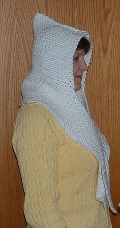 Free Crochet Pattern: One-Piece Hooded Scarf. Link To Pattern In Green. This Is Done All In Once Piece. Great Idea!