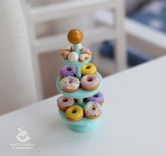 Miniature stand with sweets. 1:12 scale. Polymer clay. Handmade. Dollhouse. Foods for doll