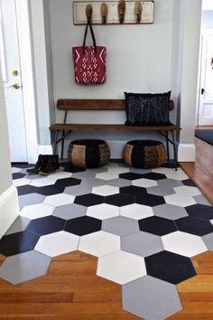 Ideas For Black Wood Floors Living Room Grey Kitchen Floor Tile Patterns, Wood Floor Kitchen, Kitchen Flooring, Kitchen Tiles, Tile Flooring, Kitchen Laminate, Laminate Flooring, Kitchen Design, Carpet Flooring