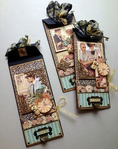 """Father's Day Card Trio Tutorial using Graphic 45 """"A Ladies' Diary"""" by Maria Cole."""