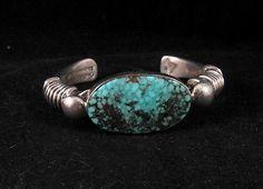 Navajo Orville Tsinnie Kingman Turquoise Silver Wrap Bracelet Medium | eBay