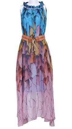 Blue Sleeveless Feather Print Belt Chiffon Dress $53.23!