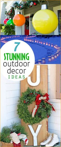 Stunning Christmas Outdoor Decor Ideas. Beautiful Christmas decorations on a budget. Giant Christmas ornaments and Christmas signs for your porch. Beautiful DIY holiday decor.