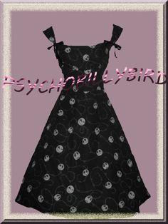 Nightmare Before Christmas,  Jack Skellington 50s Rockabilly/Psychobilly Vintage Style Swing Dress. Etsy.