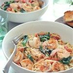 Shrimp Pasta with Tomatoes, Lemon and Spinach | JuJu Good News