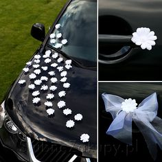 A fun way to decorate the get-away car.  Just hot glue silk fowers onto magnets.