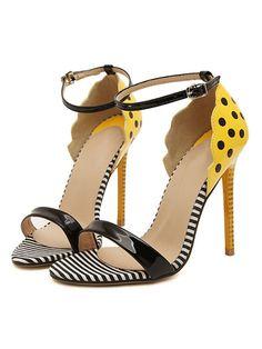 Yellow Stripe Polka Dot Print Heeled Sandals   Choies