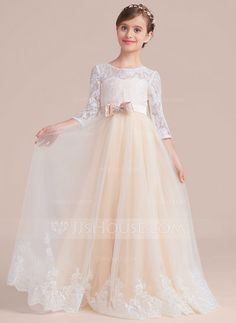 [AU$ 78.00] Ball Gown Floor-length Flower Girl Dress - Tulle/Charmeuse/Lace 3/4 Sleeves Scoop Neck With Sash/Beading/Bow(s) (010136586)