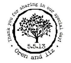 Custom made wedding stamp for DIY wedding favors with a tree and rustic font--2608