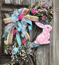 Spring Wreath, Easter Wreath, Spring Floral, Spring Decor, Floral Wreath, Natural Wreath, Burlap Wreath, Bunny Wreath