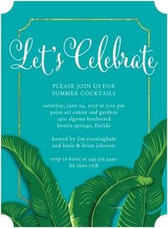 Island Celebration - Party Invitations in Enchanted or Coral | Sarah Hawkins Designs