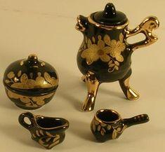 Fondue set 6pc, Black with Gold Design Brandy Glass, Glass Canisters, Tea Set, Fondue, Coffee Cups, Porcelain, Miniatures, Tableware, Gold