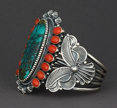 Turquoise, Coral, and Sterling Silver Cuff.