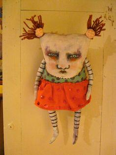 weird monster doll, art doll monster,  original doll, sandy mastroni, whimsical doll art
