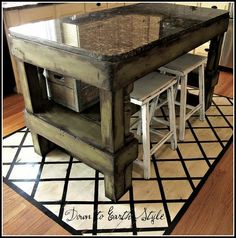 Another diy kitchen island... I like that half is storage and the other half allows for seating.  Would do brown/black to match the table, though.