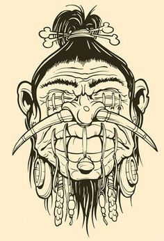 shrunken head Head Tattoos, Body Art Tattoos, Tattoo Drawings, Cool Drawings, Tiki Maske, Dessin Old School, Voodoo Tattoo, Tiki Art, Desenho Tattoo