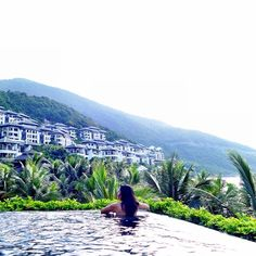 a beautiful #swim with a gorgeous view! Can I stay here forever? #Vietnam #summer #poolside