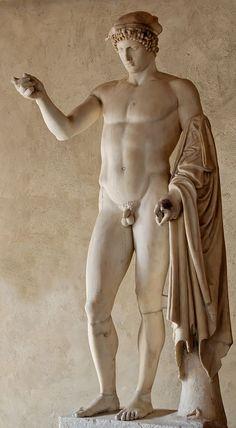 "Mercury (Hermes) ""Orator"" (Logios), Roman statue (marble) copy, 1st century AD (original 4th c. BC), (Palazzo Altemps, Rome)."