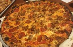 Modern Apizza in New Haven, CT (Italian Bomb Pizza -- bacon, sausage, pepperoni, garlic, mushrooms, onions, peppers, tomatoes, and mozzarella)