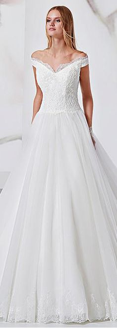 Exquisite Lace & Tulle Off-the-shoulder Neckline A-Line Wedding Dress With Beadings & Lace Appliques