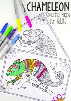 Free Colouring Pages for Grown Ups - cool colourful chameleons