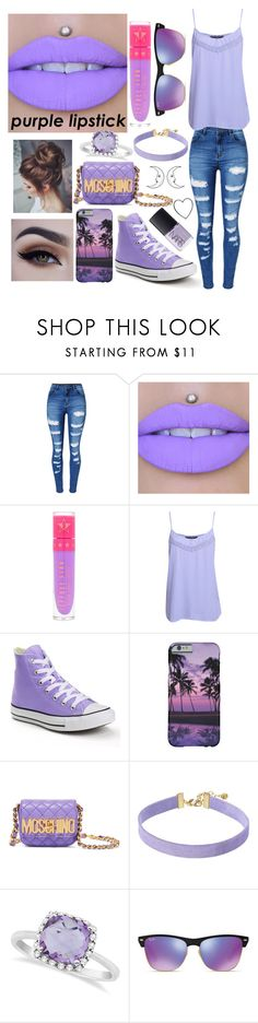 """Purple Lipstick"" by leslie-is-a-turtle ❤ liked on Polyvore featuring beauty, WithChic, Jeffree Star, Pilot, Converse, Moschino, Vanessa Mooney, Allurez, Ray-Ban and NARS Cosmetics"