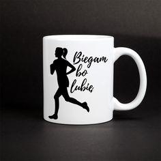 Kubek biegaczki - biegam bo lubię - wyjątkowy kubek z nadrukiem dla kobiet, które lubią biegać. Mugs, Tableware, Paper Board, Dinnerware, Tumblers, Tablewares, Mug, Dishes, Place Settings
