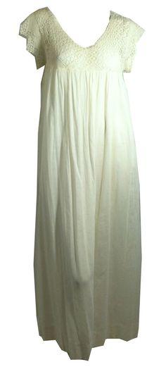 Dreamy Soft White Cotton Nightgown w/ Crochet Bodice circa Early 1900s