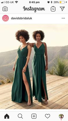 3abfaa196 These green bridesmaid dresses are the perfect color for an outdoor  wedding! Shop the flowy v-neck bridesmaid dress style at David's Bridal