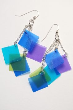 Blue tone squares cascade earrings made from Pardo translucent polymer clay and alcohol inks.