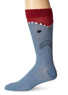 K.Bell Men's Shark Socks Crew Size Large 10-13 or XL 13-15 New Shoe 12-16 #KBell #Casual