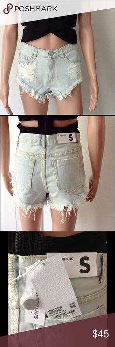 """🎉NEW🎉Ripped Jean Shorts NWT Retail; 100%cotton; Flat Measurements for SMALL: W14"""", Rise 10"""", Inseam 2""""; MEDIUM: W15"""", Rise 10"""", Inseam 2""""; LARGE: W16"""", Rise 10"""", Inseam 2"""". Bundle Discount for 3 items or more is 20%. Price firm. Glamorous Shorts Jean Shorts"""