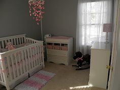 White, gray and pink nursery