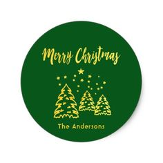Merry Christmas winter forest green and gold Classic Round Sticker - modern gifts cyo gift ideas personalize