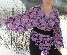 Openwork sweater/floral/Motif /knitted tunic/cotton (270.00 USD) by MsDeborahKnitter