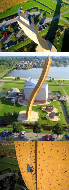 At 121 feet in height, the fearsome Excalibur in the Netherlands is the world's tallest freestanding climbing wall. The concrete climbing tower has a dizzying 36 foot overhang and a 500 ton foundation to keep it from toppling over.