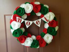 Christmas Noel Wreath - Holiday Wreath - Red, White and Green Christmas Felt Wreath - 12 inch