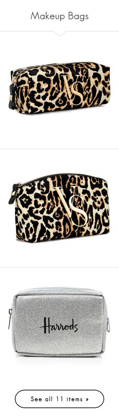 """Makeup Bags"" by emma-nordh-1 ❤ liked on Polyvore featuring bags, luggage, cosmetic bag, handbags, cosmetics, makeup bag, print, leopard print purse, print purse and hardware bag"