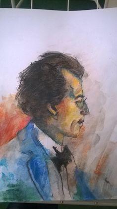 Gustav Mahler. Akwarela a4. Malarstwo, obraz.