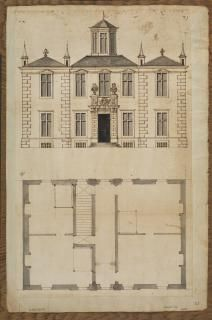 Plan and elevation of a small house